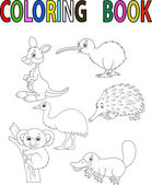 Cartoon Australia animal coloring book — Stock Vector