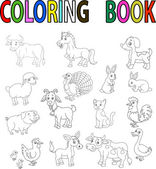 Farm animal cartoon coloring book — Vector de stock