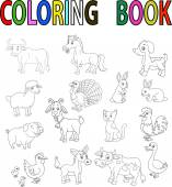 Farm animal cartoon coloring book — ストックベクタ