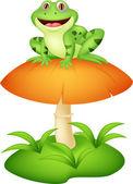 Funny frog cartoon sitting on mushroom — ストックベクタ