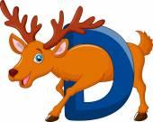 Alphabet D with deer cartoon — Stock Vector