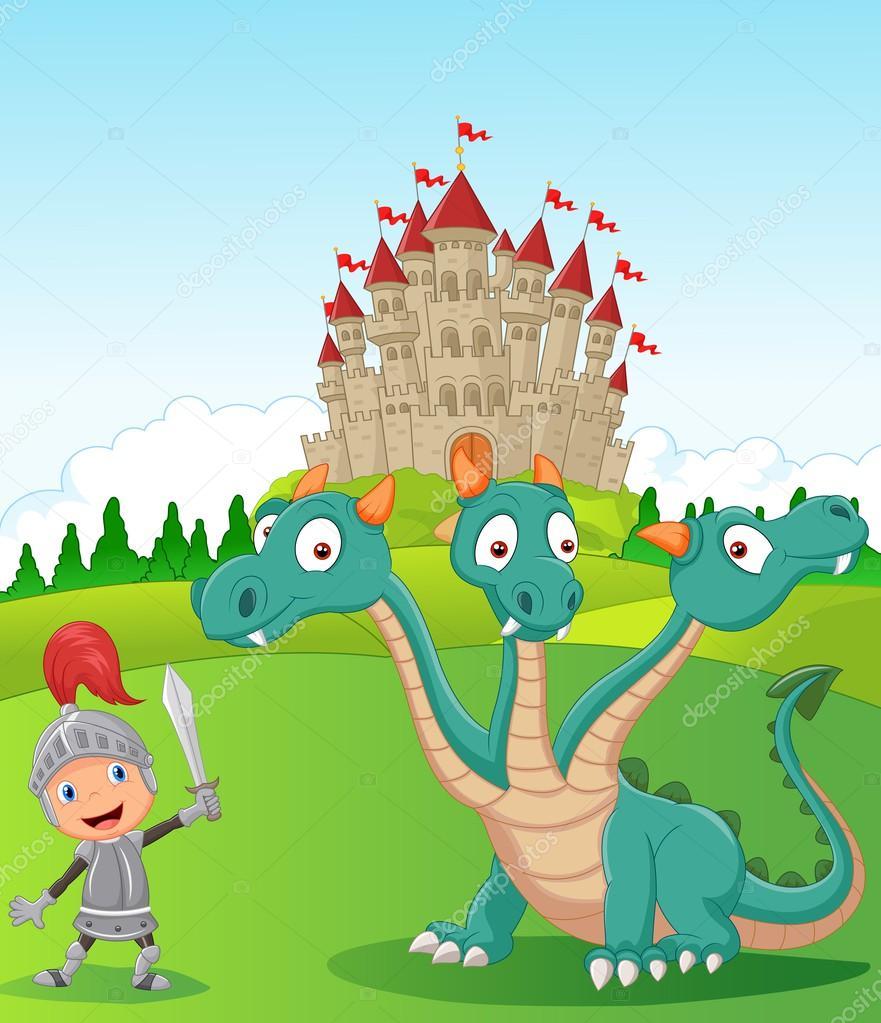 Cavaliere del fumetto con tre teste di drago — vettoriali