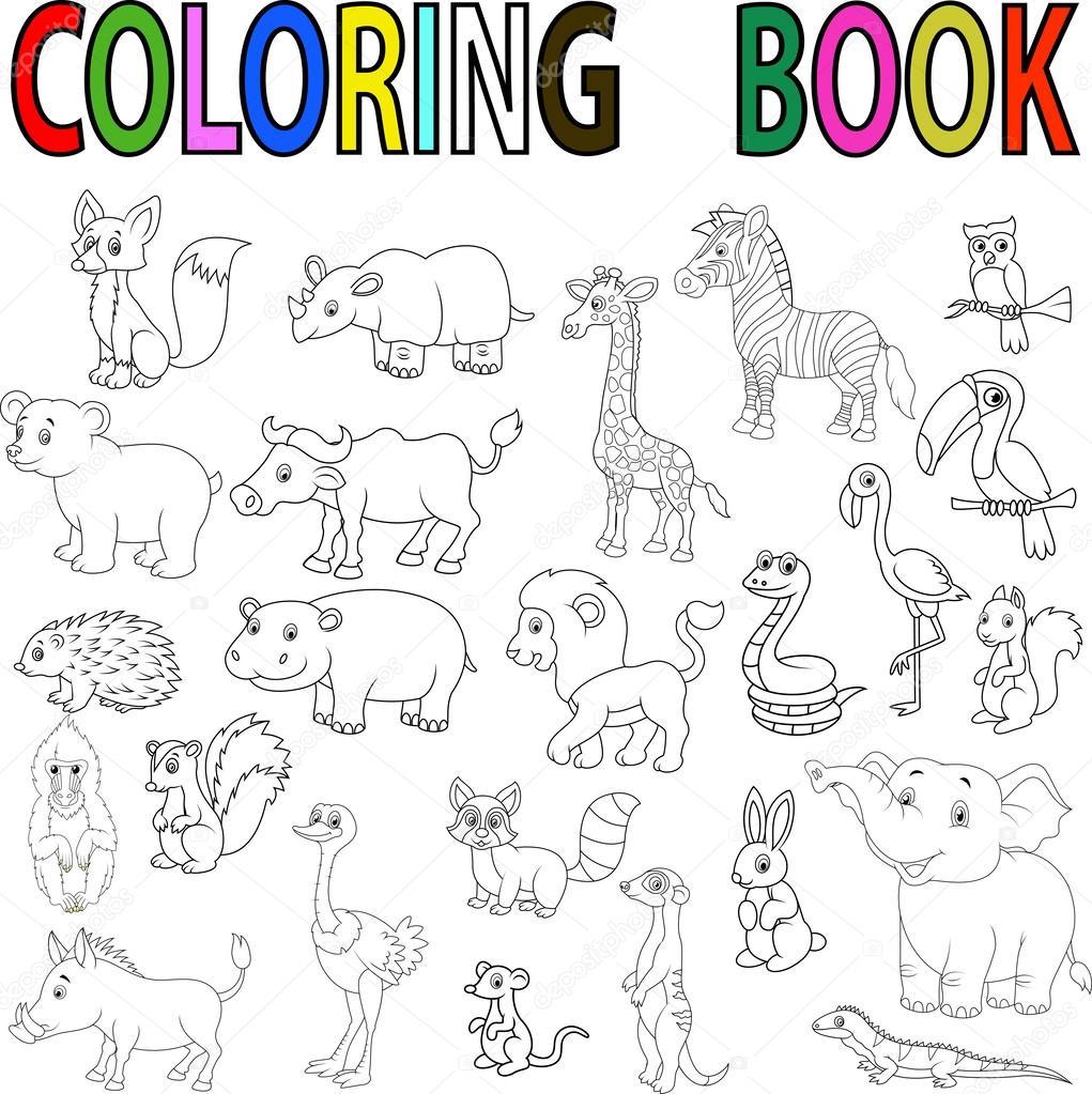 Libro Para Colorear Animales Salvajes Dibujos Animados
