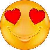 Cartoon Smiley in love — Vector de stock