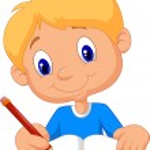 Happy boy cartoon writing in a book — Stock Vector #63470701
