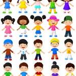Happy cartoon children collection set — Stock Vector #63475413