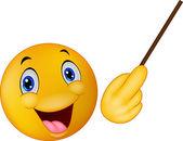 Cartoon Emoticon smiley doing presentation — Vettoriale Stock