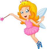 Cartoon fairy with magic wand — Stock Vector