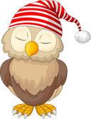 Cartoon owl sleeping — Stock Vector