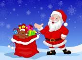 Happy Santa Clause cartoon with gift waving hand — Stock Vector