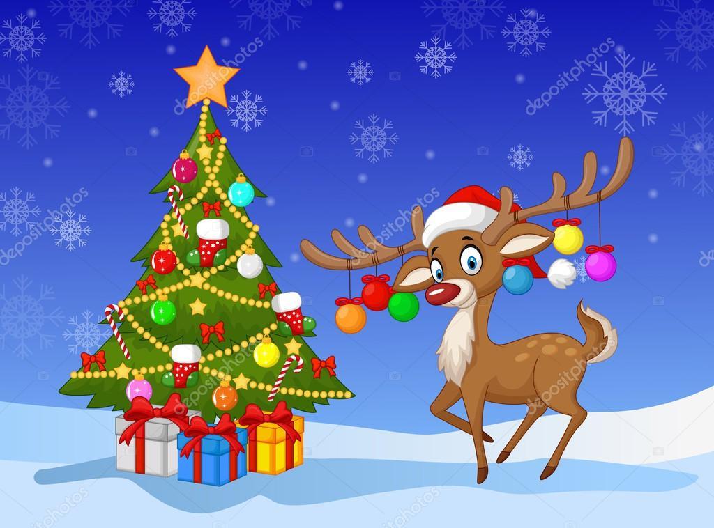 Pie de venados de dibujos animados junto al rbol de - Arbol de navidad imagen ...
