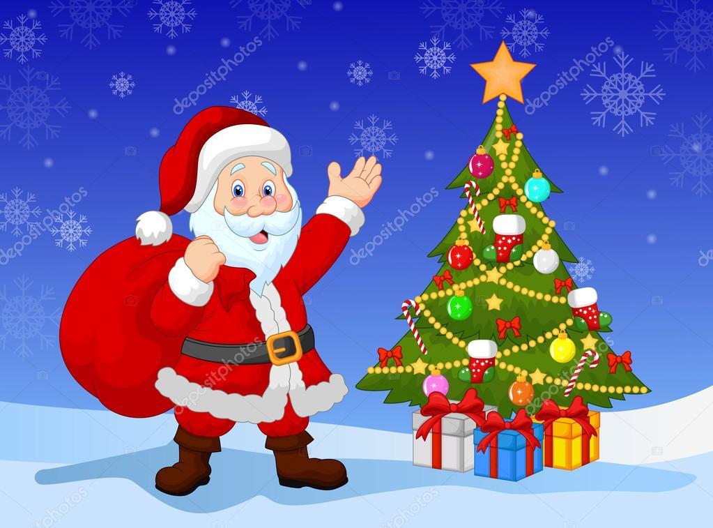 Dibujos animados de pap noel con rbol de navidad - Imagenes arbol de navidad ...