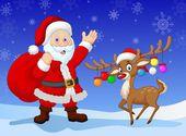 Cartoon Santa clause with deer — Stock Vector