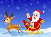 Cartoon Santa in his Christmas sled — Stock Vector