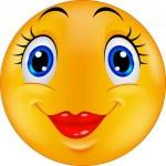 Cute cartoon female emoticon smiley — Stock Vector #63507365