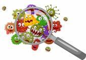 Cartoon bacteria under a magnifying glass — Stock Vector