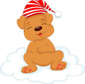 Baby dog cartoon sleeping on the cloud — Vettoriale Stock