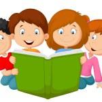 Cartoon kids reading book — Stock Vector #63519645