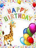 Birthday cartoon with happy giraffe — Stock Vector