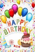 Birthday background with birthday cake cartoon — Stockvektor