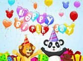Birthday background with cartoon lion and panda — Stock Vector