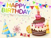 Birthday background with birthday cake cartoon — Stock Vector