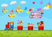 Birthday background cartoon — Διανυσματικό Αρχείο