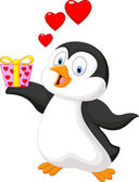 Cartoon penguin holding gift — Stock Vector