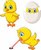 Cartoon happy chick collection set — Stock Vector