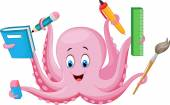 Cartoon octopus holding stationery — Vector de stock