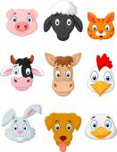 Cartoon farm animal set — Stockvektor