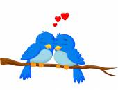 Kuşlar çift çizgi film aşık — Stok Vektör