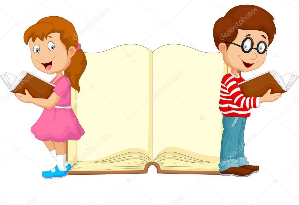 Niños de dibujos animados leyendo libro — Archivo Imágenes ...