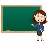 Cartoon female teacher standing next to a blackboard — Stock Vector