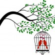 Tree silhouette with birds in a cage — Vetor de Stock  #64115333