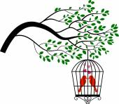 Tree silhouette with birds in a cage — Stock Vector