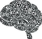 Концептуальная абстрактный слово облако в форме мозга — Cтоковый вектор