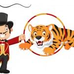 Cartoon tiger jumping through ring — Stock Vector #65351021