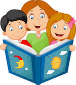 Cartoon mother reading with his children — Stock Vector