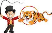Cartoon tiger jumping through ring — Stock Vector