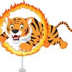 Cartoon tiger jumps through ring of fire — Stock Vector #65406515