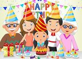 Happy girl cartoon blowing birthday candles with his family — Stock Vector
