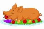 Cartoon drilled suckling pig on a plate — Stock Vector