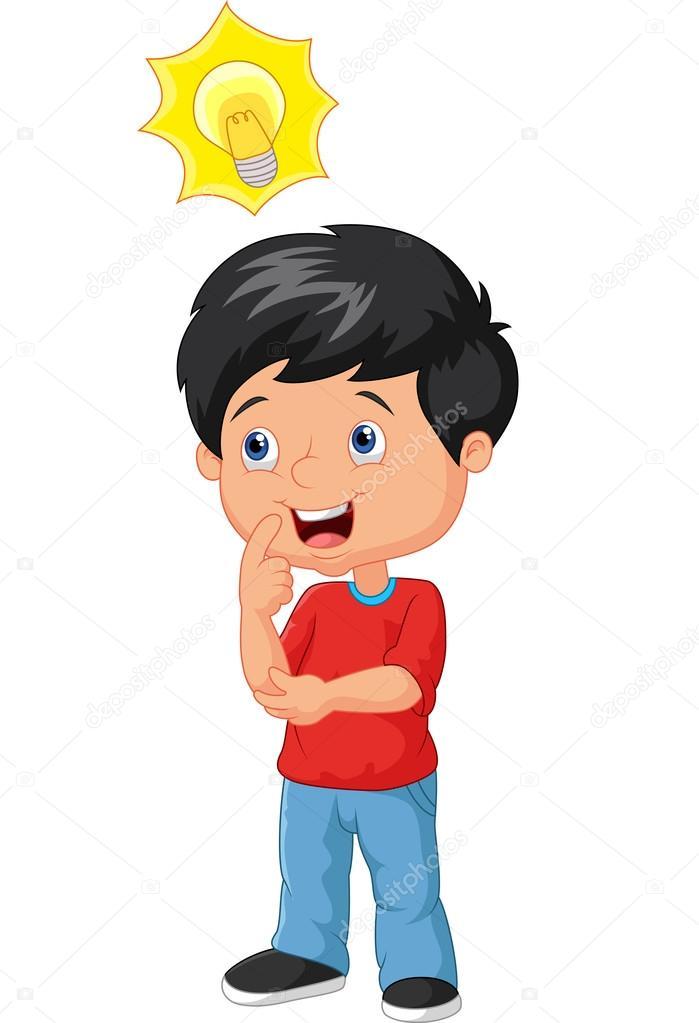 petit gar u00e7on dessin anim u00e9 avec grande id u00e9e image little boy thinking clipart boy and girl thinking clipart