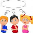 Cartoon kids thinking with white bubble — Stock Vector #67087985