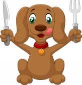 Hungry dog cartoon is ready to eat — 图库矢量图片