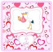 Cartoon stork with baby girl card — Stock Vector