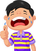 Cartoon boy crying because of a cut on his thumb — Stock Vector