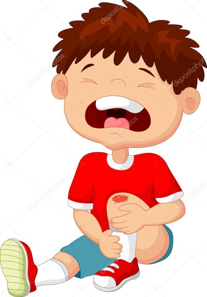 卡通小男孩哭着他的膝盖上的划痕