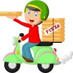Cartoon pizza delivery boy riding motor bike — Stock Vector #70907907